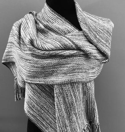 "Silk and rayon shawl.  15""x70"" plus 4"" fringe.  $110"