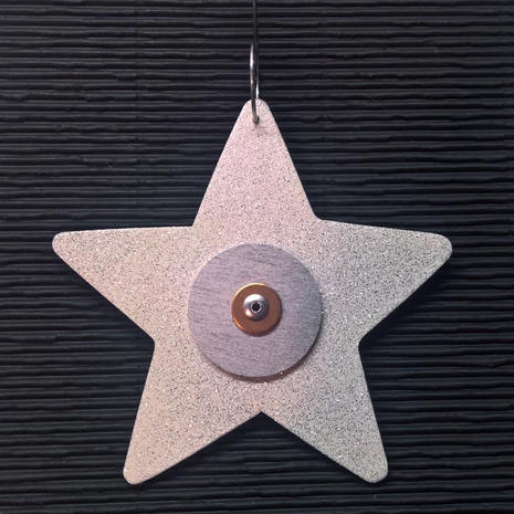 Star ornament:  Wood, copper, steel.  $9.  Additional star ornaments available.