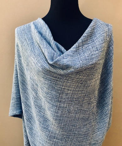 Straight backed Mobius cape.  Flax and rayon blended yarn.  $155.