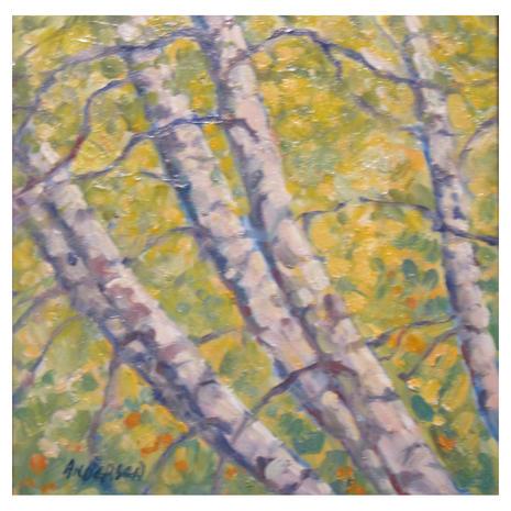 9.Leaning Birch, oil on board, 6x6