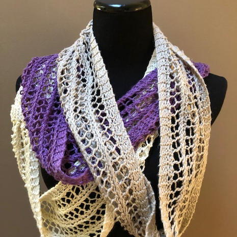Hand knitted lace infinity scarfs.  Silk and linen blended yarn.  $40