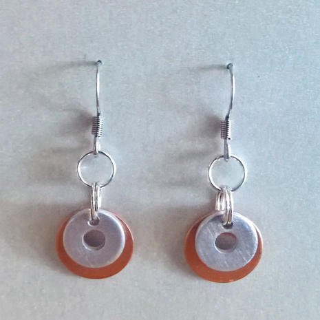 Earrings.  Aluminum, copper, stainless steel.  $15.  Additional earrings in different styles available. $15