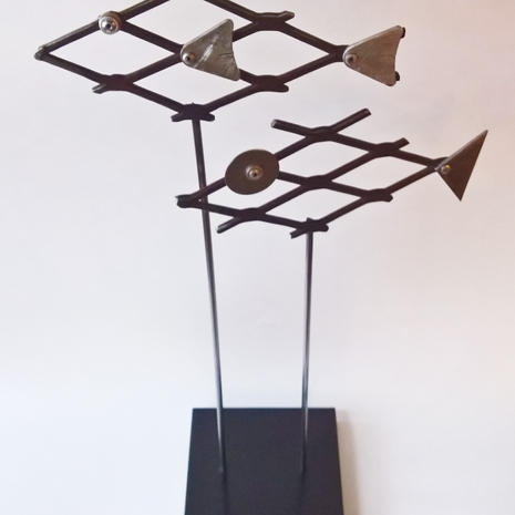 Fish:  steel, aluminum, wood, paint.  $60