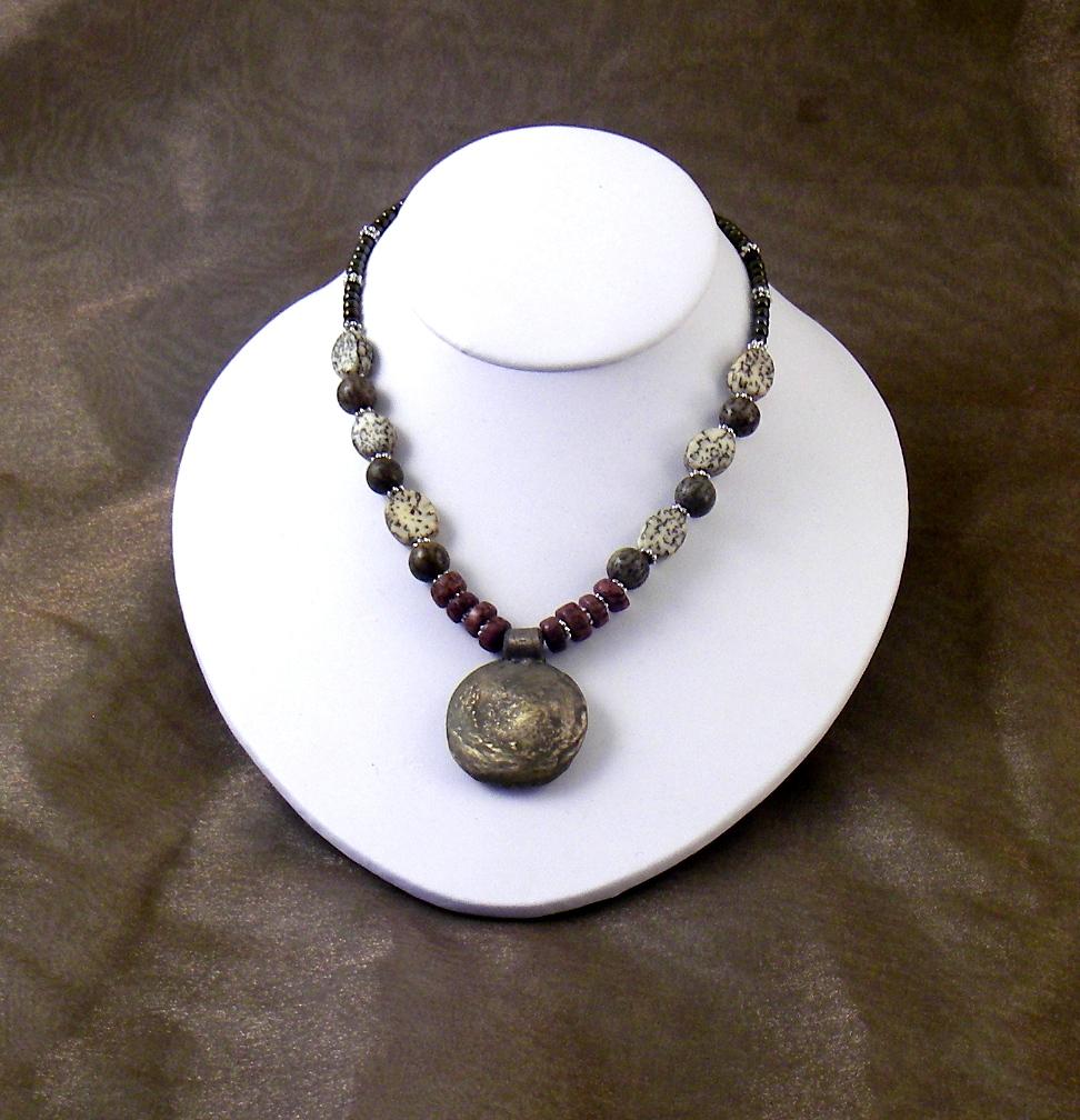 Bronze necklace w/ lentil bead