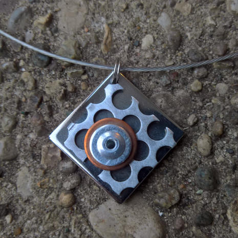 Necklace:  Stainless steel, aluminum, copper.  $24.  Additional mixed metal necklaces available. $24