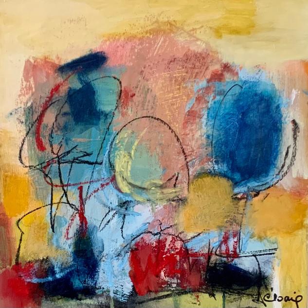 Plaisir de bonheur  2020 - Acrylique et pastels sur bois  30x30 cm / 12x12po