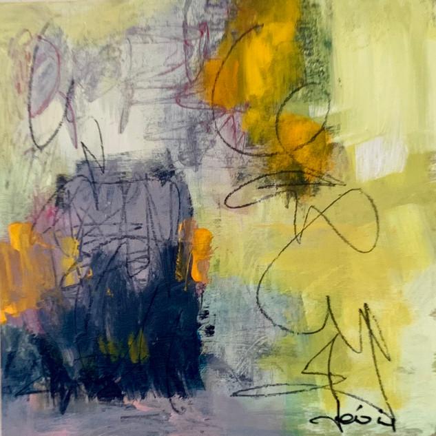 Je surgis de mon âme 2020 - Acrylique et pastels sur bois 30x30 cm / 12x12po 300$