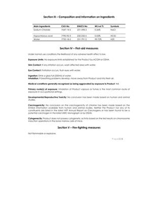 BioNaturals - ViroGold HOCL - Safety Data 2