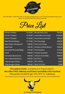 20190919 Gonubie Butchery - Price List.j