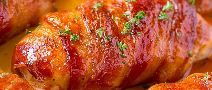 Ang's chicken wrapped in bacon, with feta)