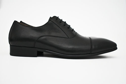 Leo Matte Black Leather Shoe Side View