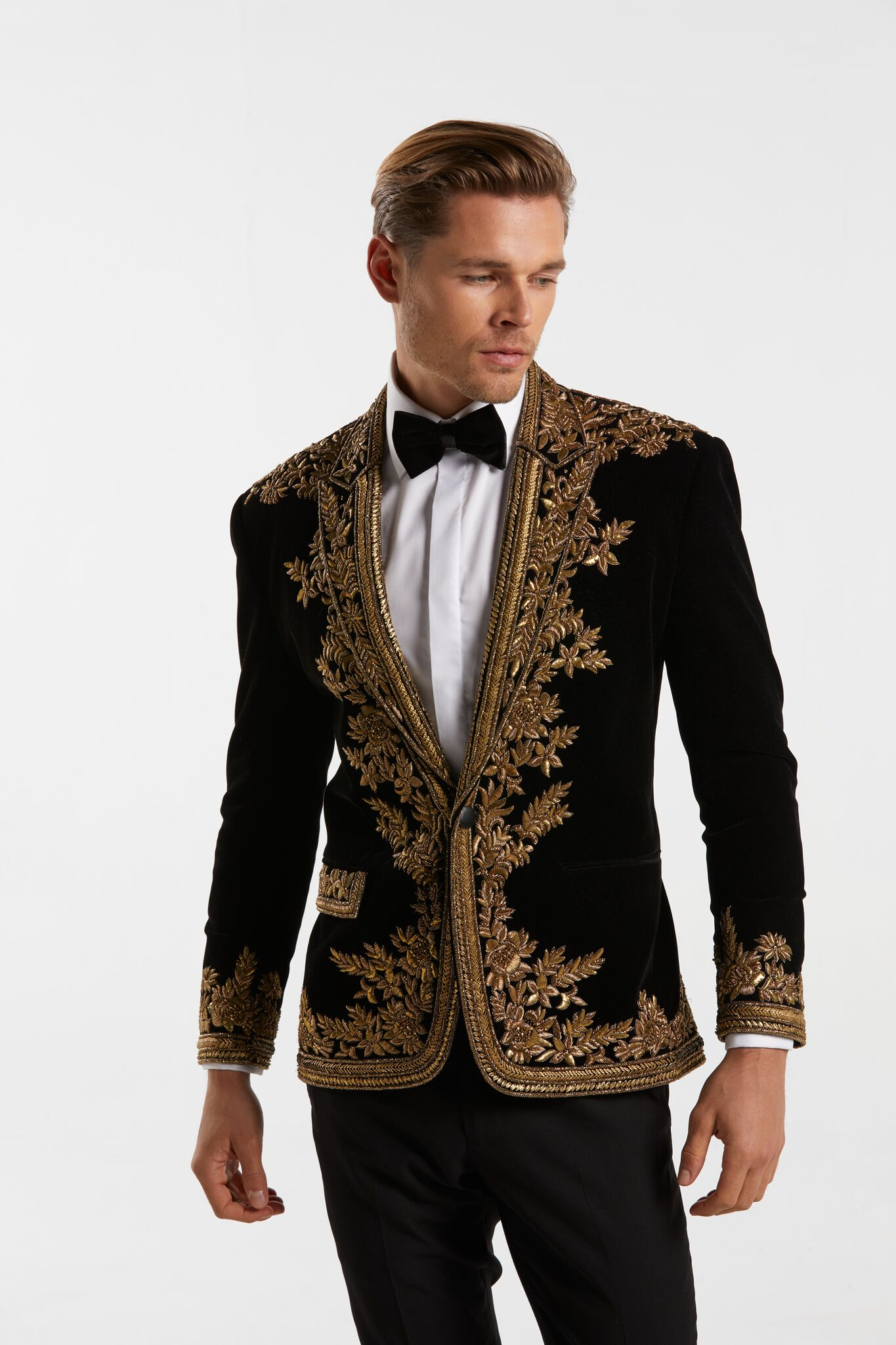 Gold Hand Beaded Black Velvet Jacket