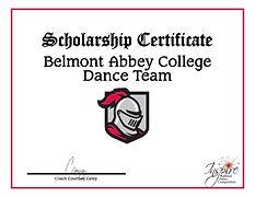 Belmont Scholarship dance certificate.jp