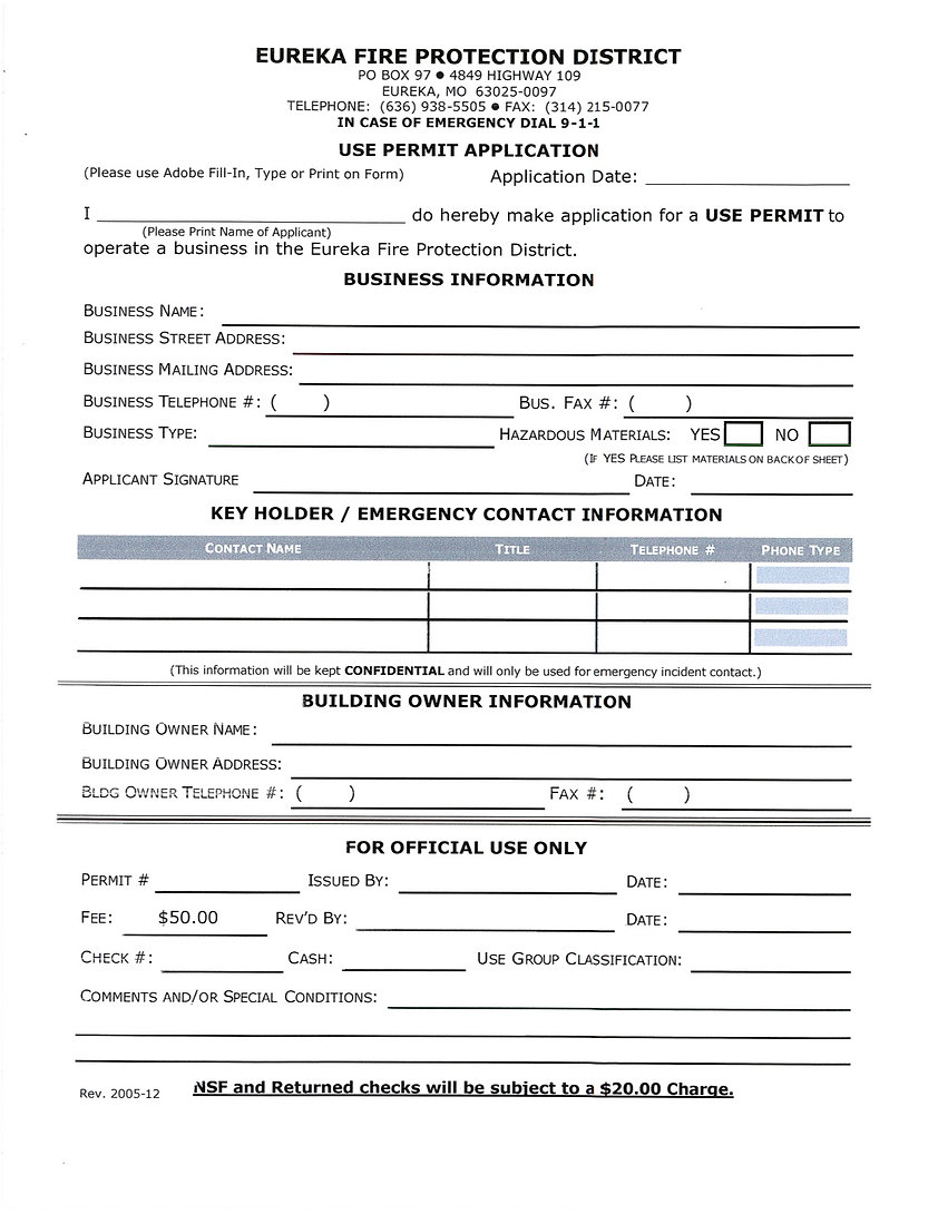 Eureka Fire Protection District Use Permit
