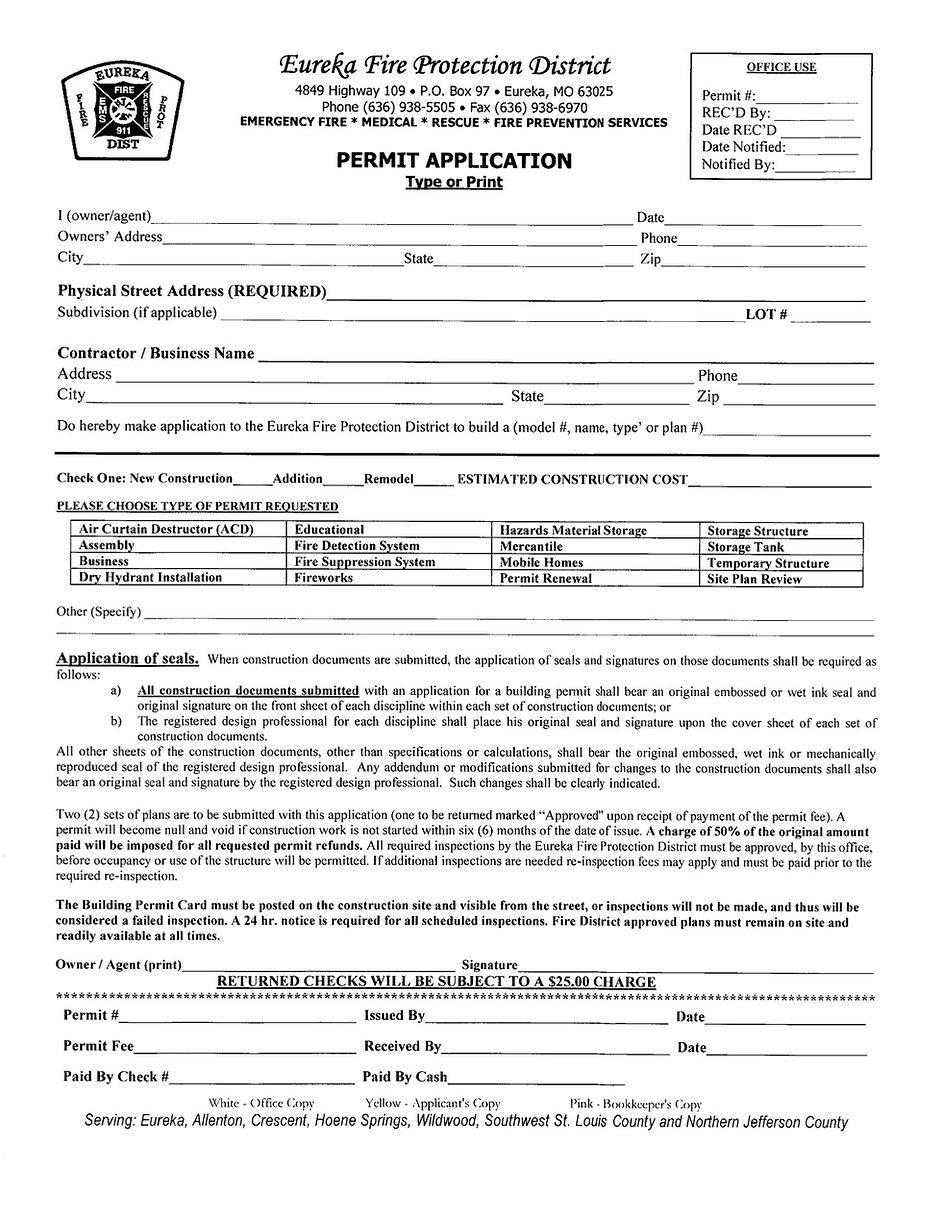 EFPD Permit Application
