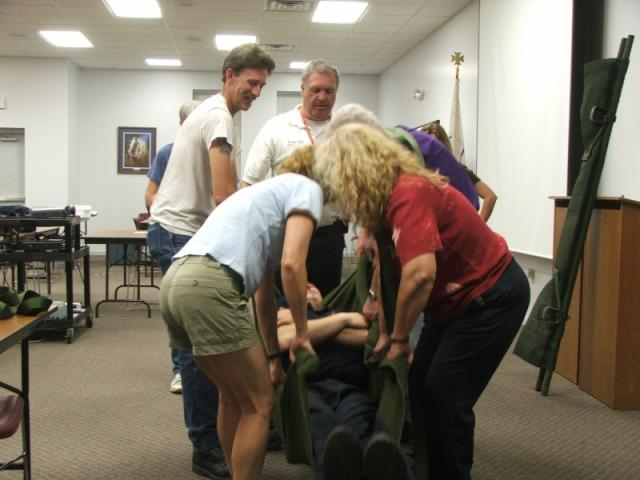 CERT team practicing carrying person