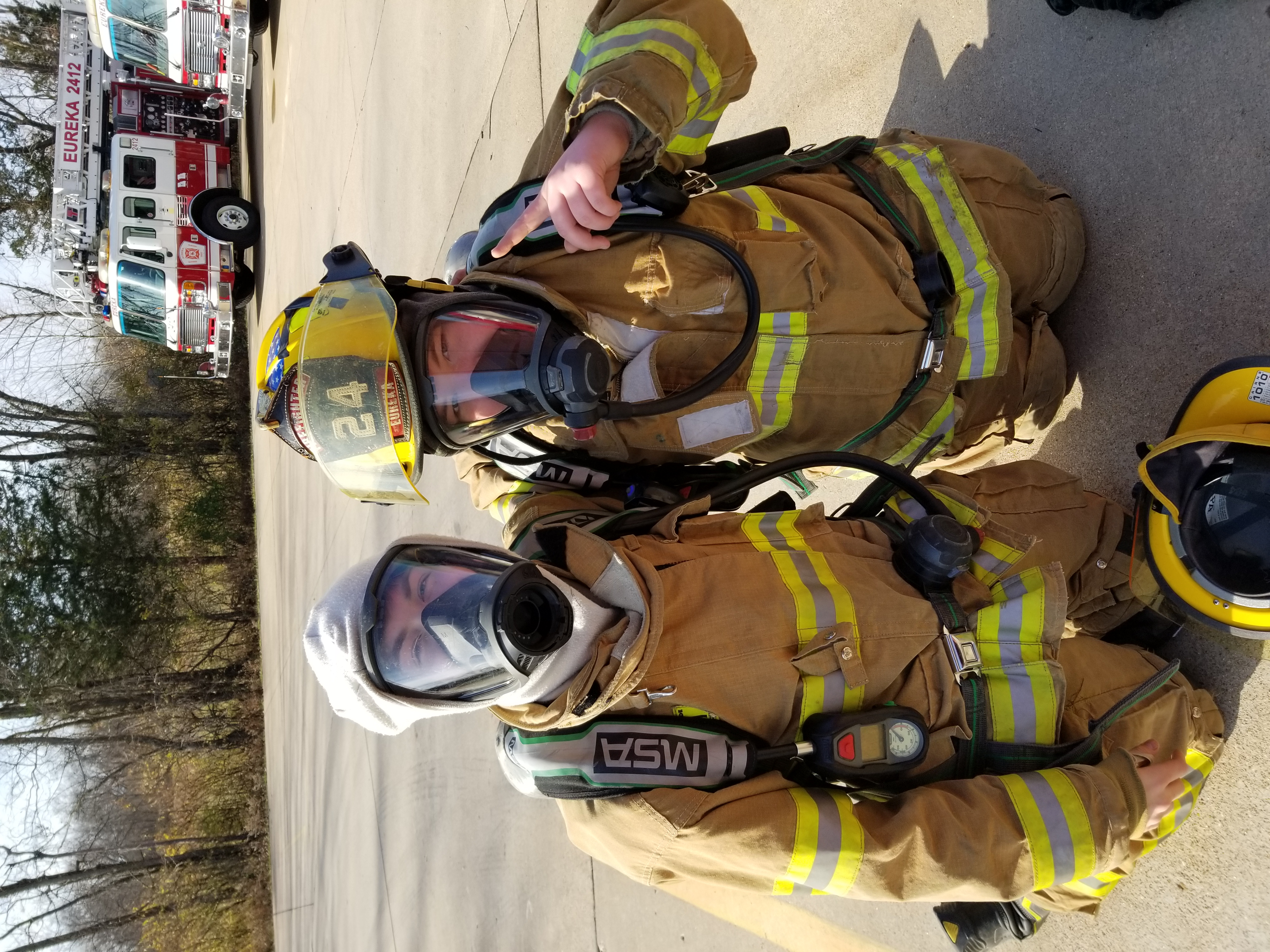 Jr. Firefighter in gear