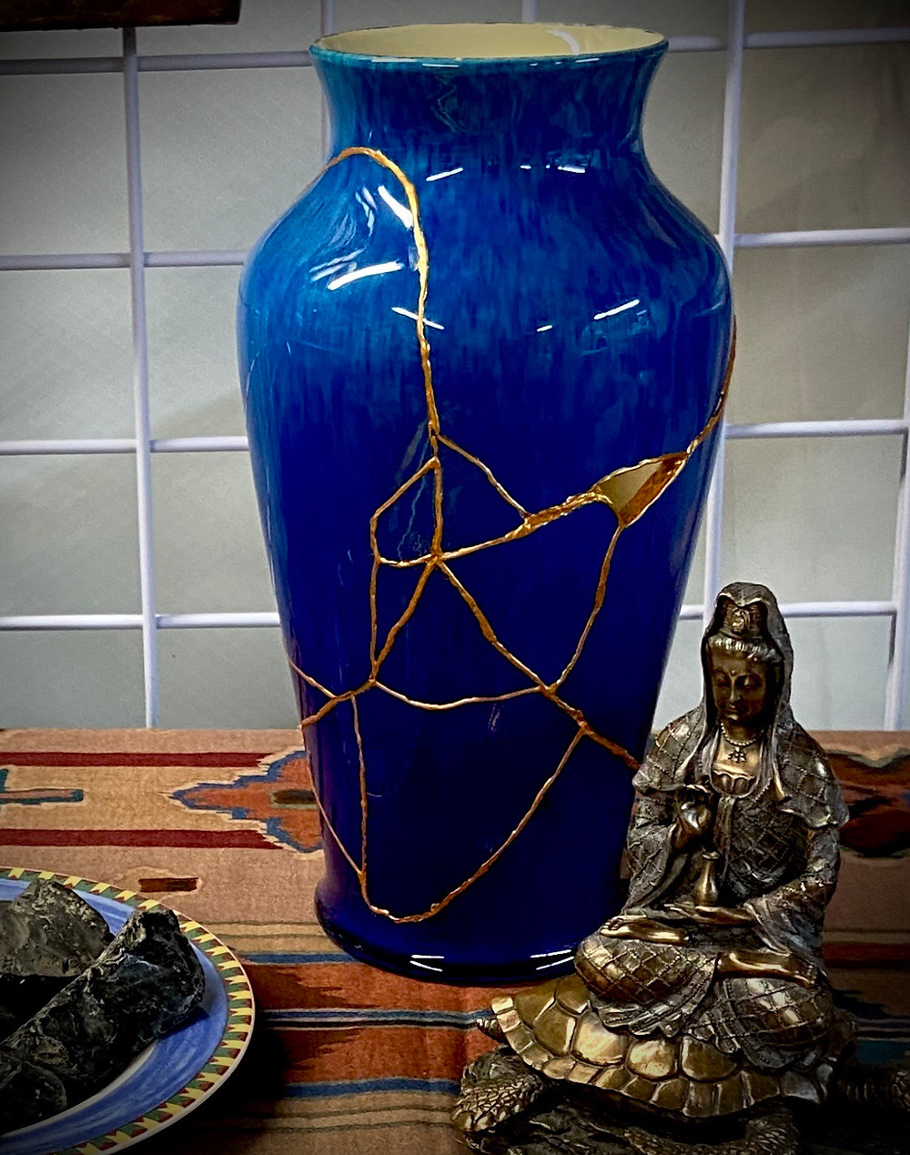 A piece of Kitntsugi pottery in Glenda's studio