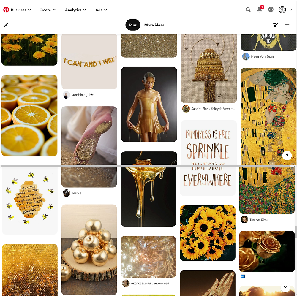Example of a Pinterest mood board