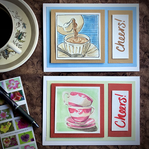 Teatime Watercolor Greeting Cards