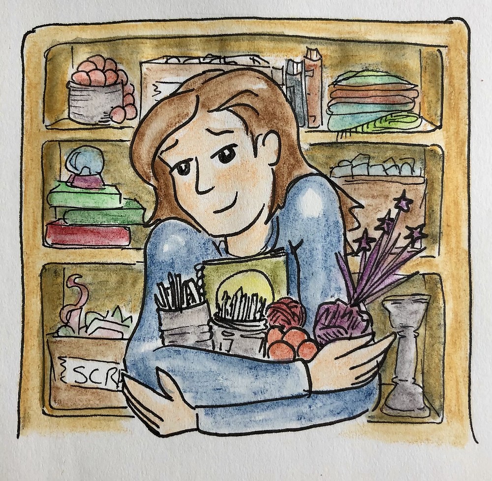 An illustration of Penny, carrying an arm full of junk, in front of a shelf overflowing with supplies