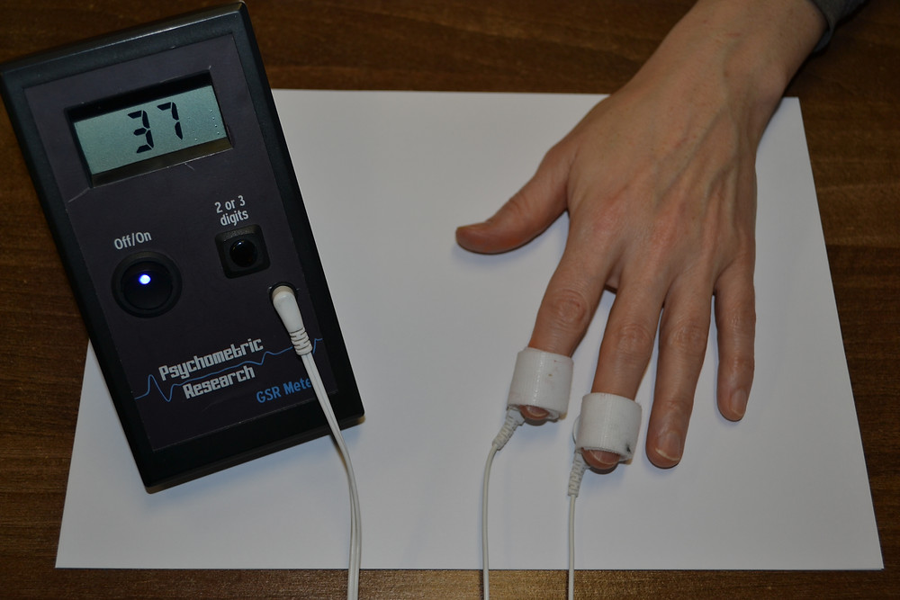 A hand with connectors on two fingers leading to a galvanic skin response monitor - Solution Focused Therapy Session Part 3
