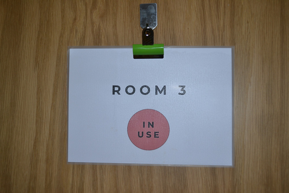 Sign on door reading: room 3 in use – solution focused therapy part 1: the breakthrough session