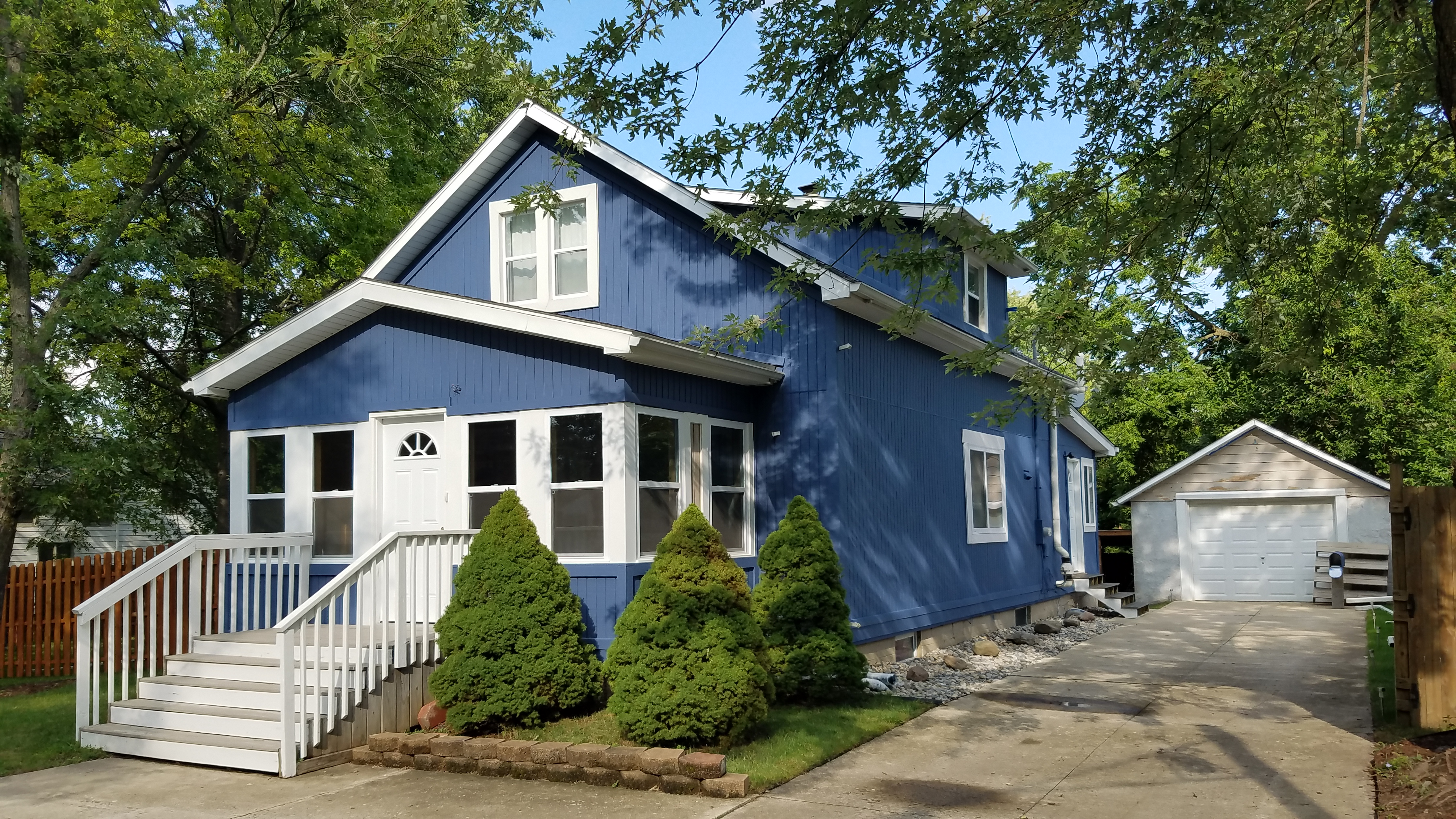 exterior blue house after