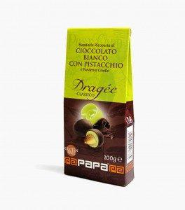 MANDORLE al doppio cioccolato: pistacchio e nero - 6 astucci 100g