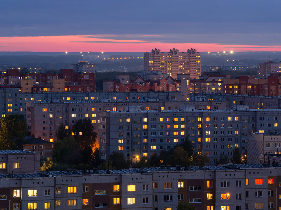 Residential buildings in the evening wh