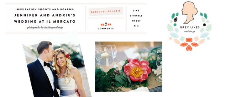 aindriu and jennifer's wedding was featured on grey likes weddings, flowers are by leaf and petal nola, venue is il mercato, emily sullivan is a destination wedding planner that is based in new orleans louisiana and she also does boutique weddings.