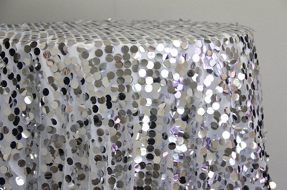 """90x156"""" Large Silver Sequin Mesh Overlay"""