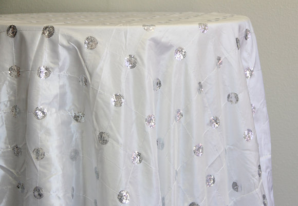"""108"""" White with Sliver Sequin Circle"""