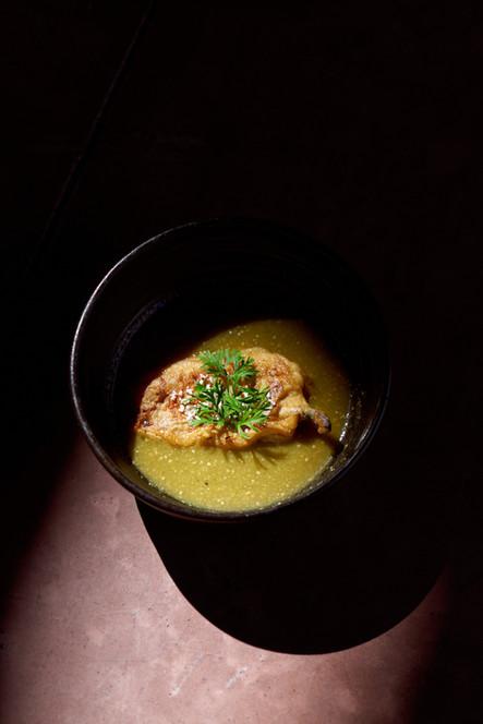 Chile de Agua relleno con queso en salsa de Tomatillo   La Carreta Cabo