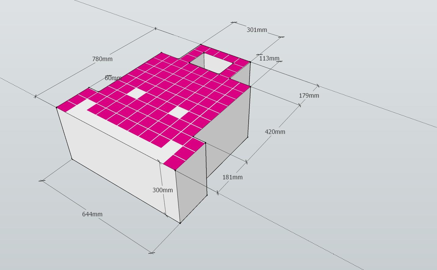 Pink Cardboard Space Invader