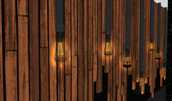 Wall Panels with Edison Lightbulbs