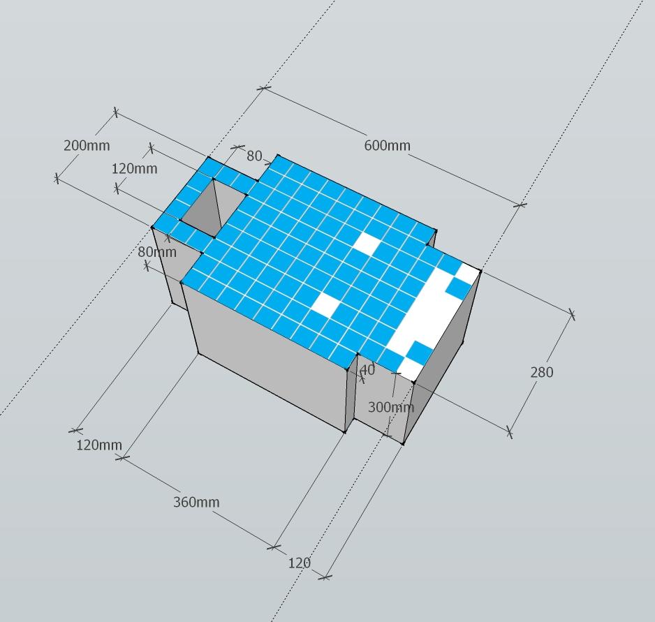 Blue Cardboard Space Invader