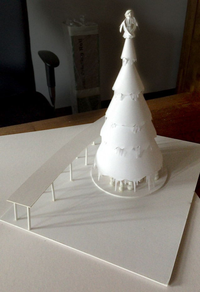 White Model of Tree with Walkway