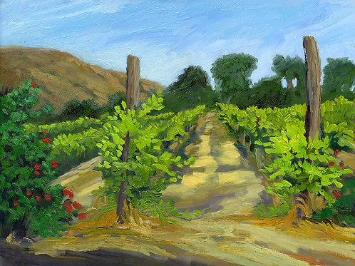 """Evening at the Vineyard, No. 1""     12"" x 16""    oil on board"