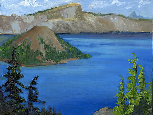 """Crater Lake Study #1,     8""""x10""""    oil on board"""