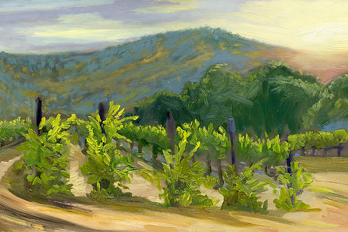 """Evening at the Vineyard No. 4""    10 x 18""    oil on board"