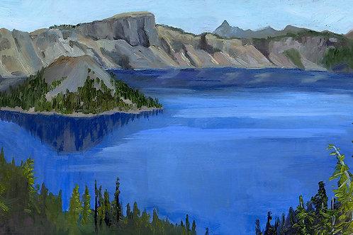 "Crater Lake Panorama   13 x 27""   oil on board"