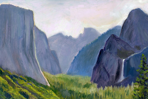 """Tunnel View, Yosemite""   11x18""   oil on board"