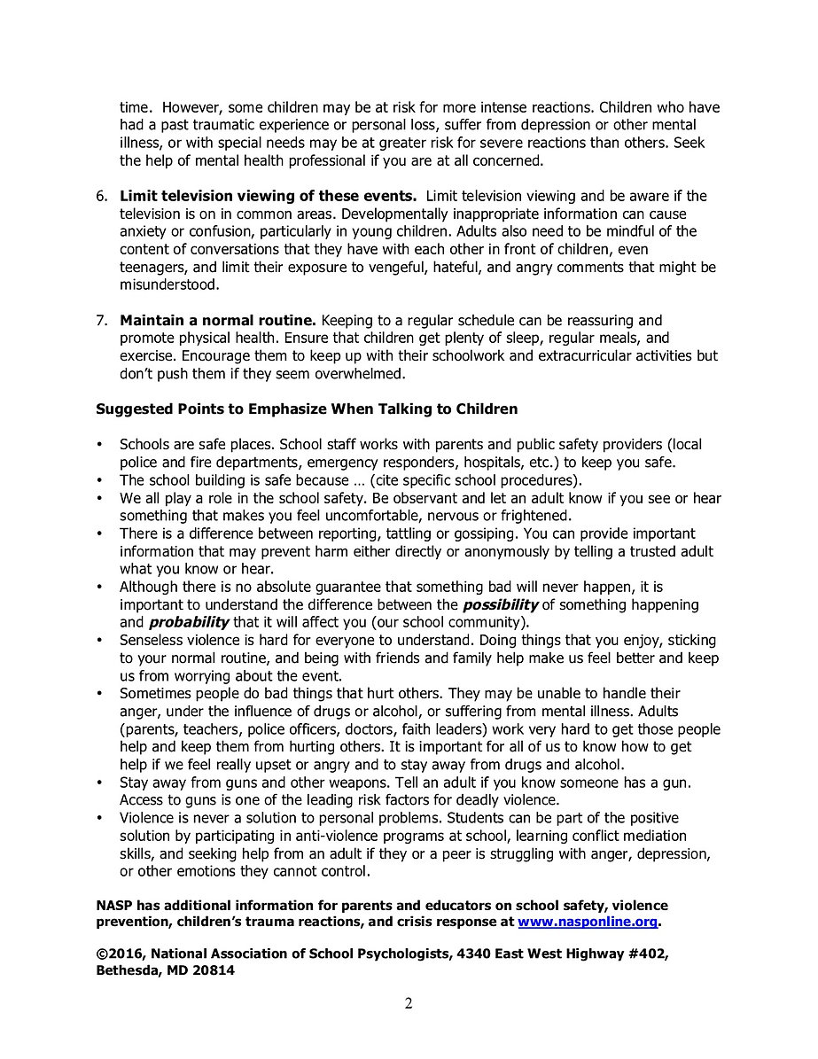 How to Talk to your Child about violence, page 2, click for a PDF version
