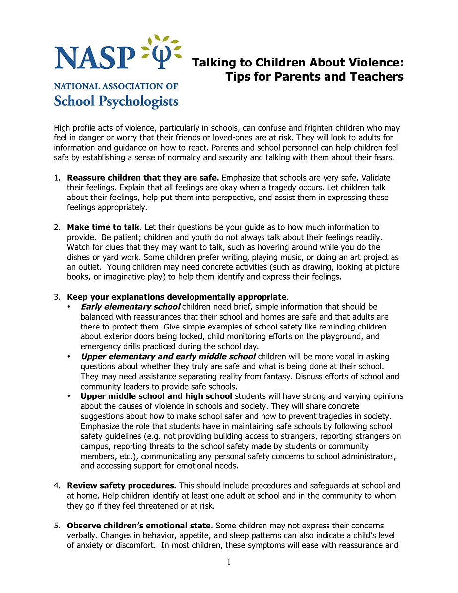 How to Talk to your Child about violence, page 1, click for a PDF version