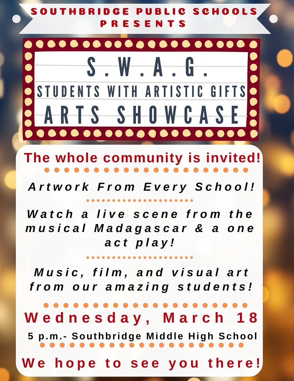 """Poster for the """"SWAG"""" Arts Showcase event of Southbridge Public Schools in English"""