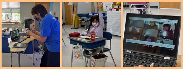 three photos of an elementary school classroom remotely and in person