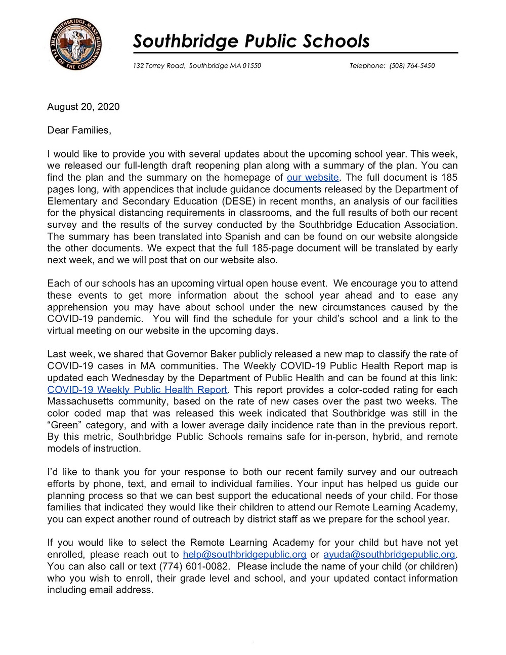 Image of the first page of a letter from Dr. Villar. All wording in the image is also in the body of this blog post.