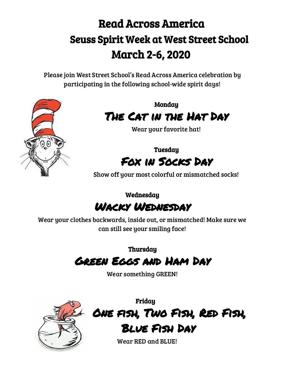 Flyer for Read Across America at West Street School in English