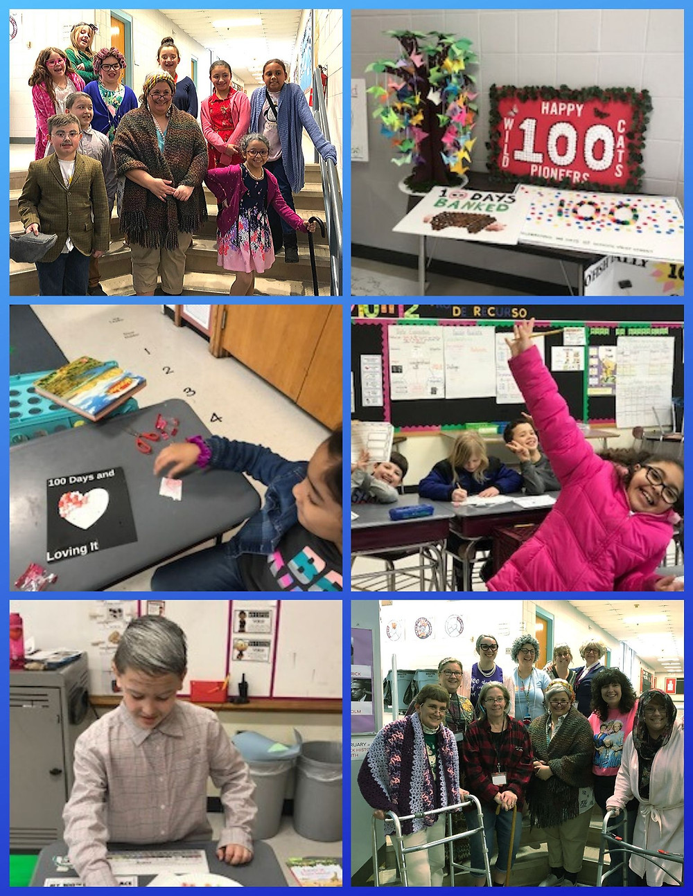Photos in a grid of 100th Day celebrations at West Street School